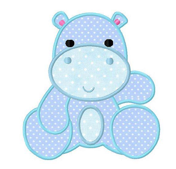 Baby hippo applique machine embroidery digital by WendysStitch, $1.49