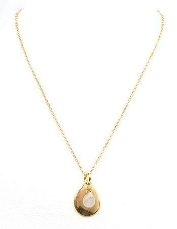 Colgante chapado en oro de 18 Kts y zafiro blanco