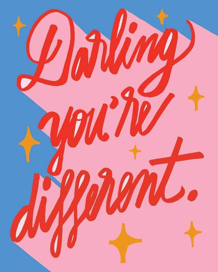 Darling you're different. Typography. Font styles. Quote graphic