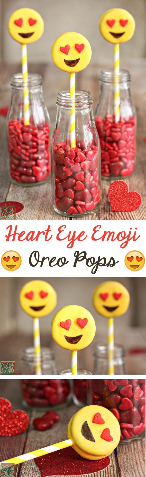 Caritas felices hechas con galletas oreo sobre de caramelos de corazones para amor y amistad, fabuloso como decoración y regalo. #DulcesAmorYAmistad