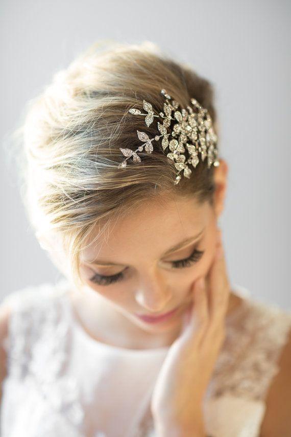 Wedding Hair Comb Crystal Bridal Comb Wedding Headpiece Bridal Hairpiece Gold Wedding Headpiece Floral Hochzeit Kopfschmuck Haarkamm Hochzeit Braut Kurzes Haar