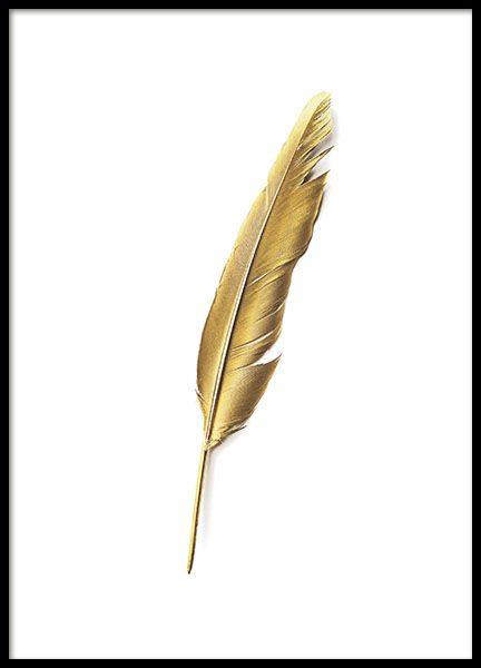 Mooie poster met motief van een gouden veer. Een mooie en stijlvolle poster met veren in goud die een mooi compliment zijn voor een zwart-witte fotowand. We hebben meerdere mooie posters en prints met gouden motief onder de categorie Guld & Metallic. www.desenio.nl