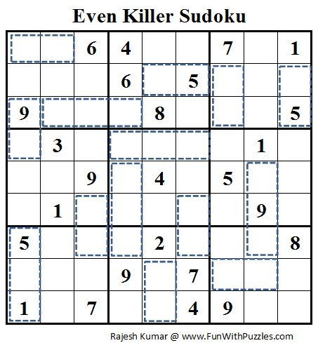 Rules of Even Killer Sudoku :  Classic Sudoku Rules apply. Additionally the sum of digits in cells inside every cage must be even. Digits inside a cage do not repeat.