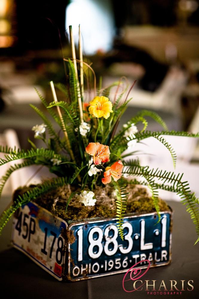 license plates wedding decor