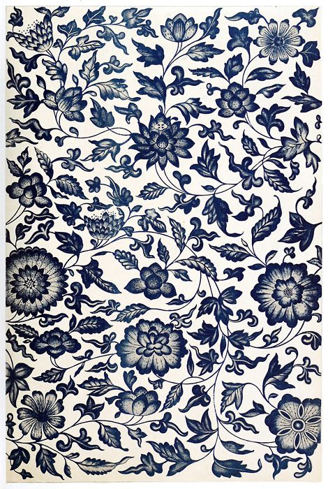 From a blue and white China bottle. This composition is a fine example of conventional representation of natural flowers; but for the peculiar character of the termination of some of the leaves, it would pass for Indian or Persian. Examples of Chinese ornament, by Owen Jones, London, 1867.