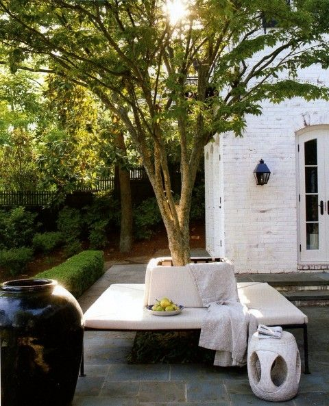 darryl carter  http://www.markdsikes.com/2012/05/01/darryl-carter-a-moment/Ideas, Gardens Seats, Outdoor Seats, Outdoor Living, Seats Area, Trees Benches, Patios, Outdoor Spaces, Backyards