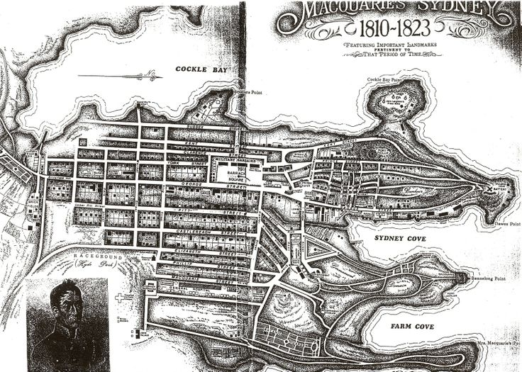 Map of Sydney 1810- 1823 Note that Bridge Street was the crossing for the stream - Circular Quay and it's environs are built over the old stream.