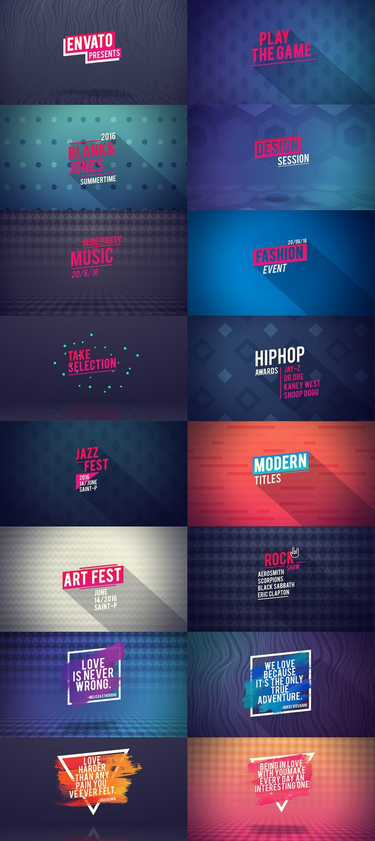 Stay away from downloadable templates. Still, the art direction here is pretty neat. Concert-ish feel // After Effects Template