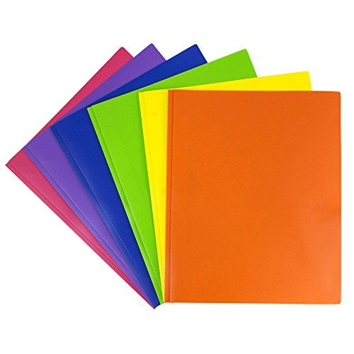 JAM Paper Plastic 2-Pocket Folders - Eco Friendly Folder with Metal Clasps - Assorted Colors - Pack of 6 Folders  Pack Of 6 Metal Prong Plastic Folders: Blue, Orange, Lime Green, Purple, Yellow, & Pink  Size: 9.5 x 11.5 inches (perfect for standard papers)  Quantity: Pack of 6 Folders  Includes 2 Pockets, 3 Metal Clasps to store loose 3hole punched papers, and a Business Card slot on one side | Eco-Friendly: Made with durable, smooth, recyclable plastic  These folders are perfect for h...