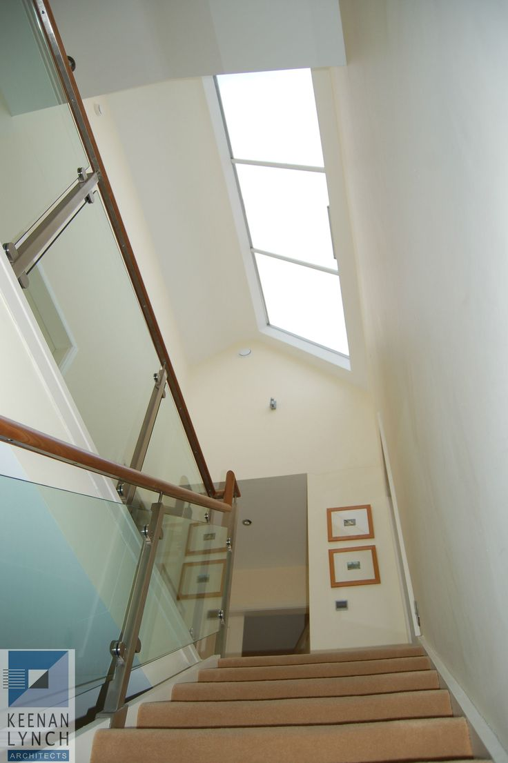 A skylight over the stairs brings sunshine into the centre of this home.  Keenan Lynch Architects find creative solutions to flood homes with natural light.