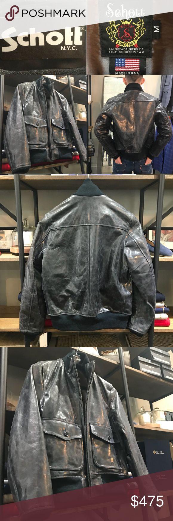 Schott Leather Jacket NWT - Schott Leather Jacket, size medium, color is slate (blue/gray), lined, pockets, silver hardware Schott NYC Jackets & Coats Bomber & Varsity