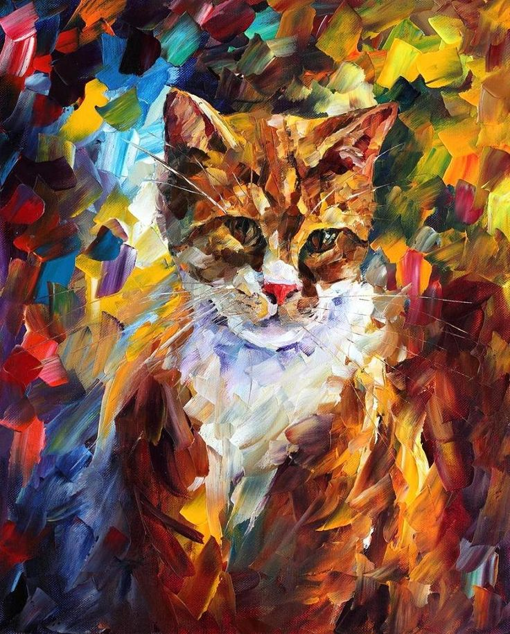 Leonid Afremov, oil on canvas, palette knife, buy original paintings, art, famous artist, biography, official page, online gallery, large artwork, fine, animal, pet, cat