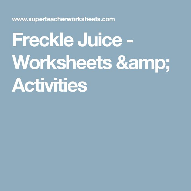 Freckle Juice Worksheets Activities – Freckle Juice Worksheets