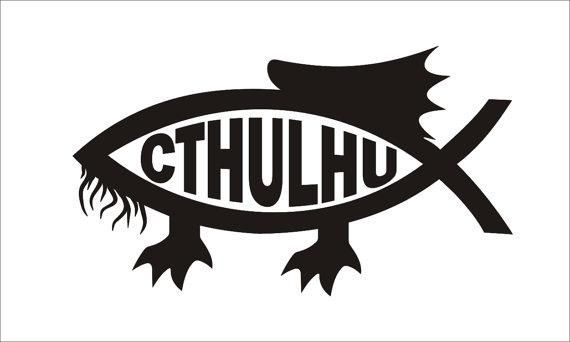 CTHULHU FISH SYMBOL VINYL DIE CUT STICKER