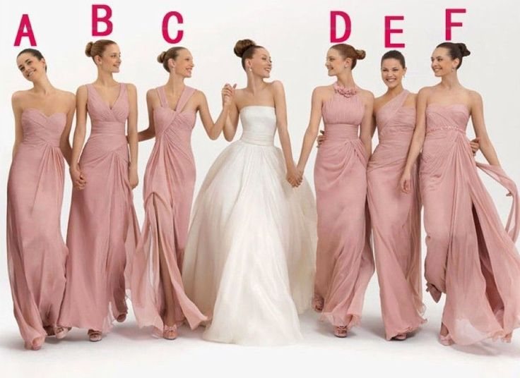 Short Long Bridal Party 6 Diffe Neckline Bridesmaid Dresses