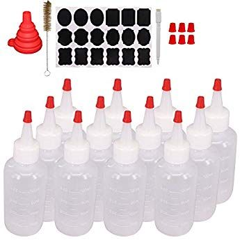 b49196cc8afb Belinlen 12 Pack 4-Ounce Plastic Squeeze Bottles with Red Tip Caps ...