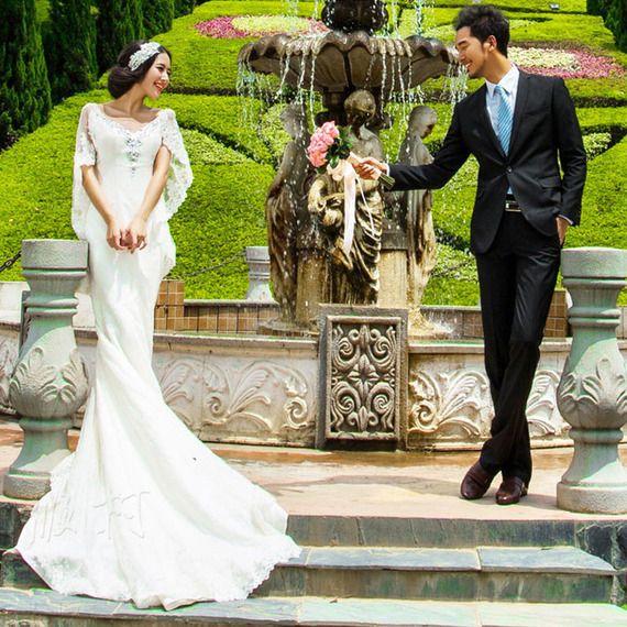 새로운 스튜디오 테마 의류 드레스 2017 레이스 결혼식 위치 photography 카메라 허리 꼬리 치기 활공 커플 사진