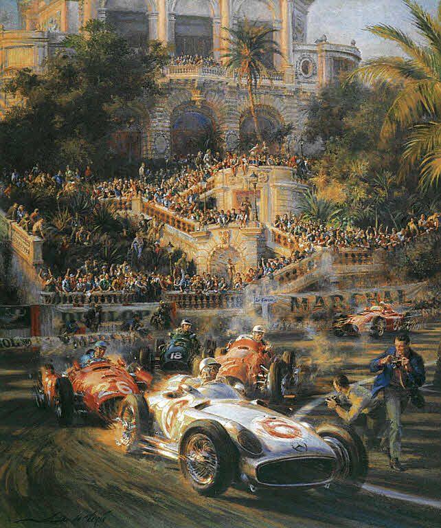 Lucky for Some, Stirling Moss Mercedes W196 Monaco Grand Prix 1955 F1 Motorsport Kunstdruck von Alfredo De la Maria