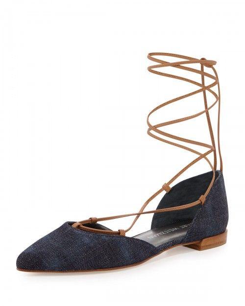 Stuart+Weitzman+Gilligan+Lace+Up+Dorsay+Flats+Navy+Women's+42b+12b+|+Footwear