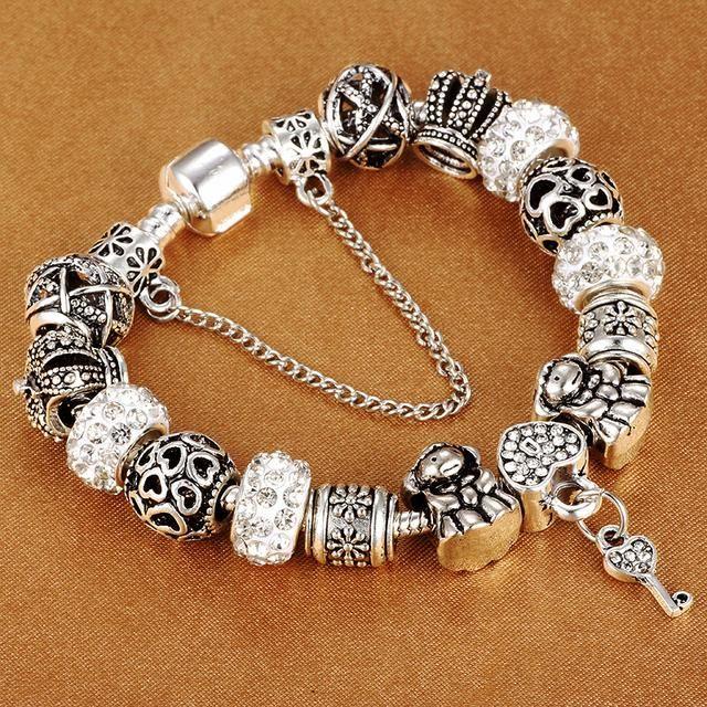 Silver Key Charm Bracelet