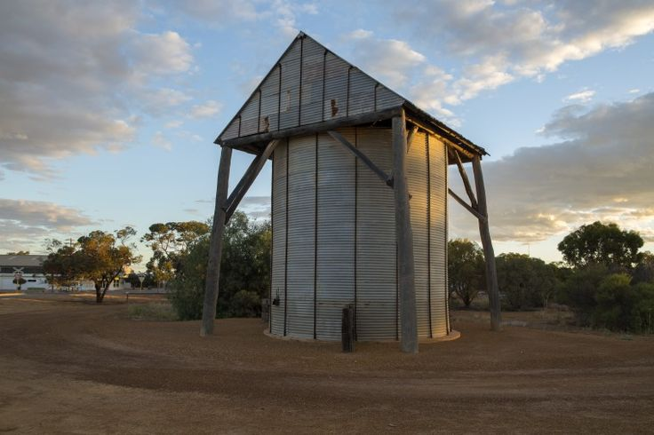 BA2493/897: Wheat silo built by local farmer Lloyd George 'Jack' Jones in 1949, corner of Strugnell and Bent Streets, Mukinbudin, 6 March 2016  https://encore.slwa.wa.gov.au/iii/encore/record/C__Rb4638344
