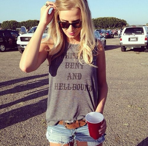 Whiskey Bent and Hellbound Tank As Seen on Miranda Lambert www.licensetoboot.com Stagecoach Country Concert Outfit