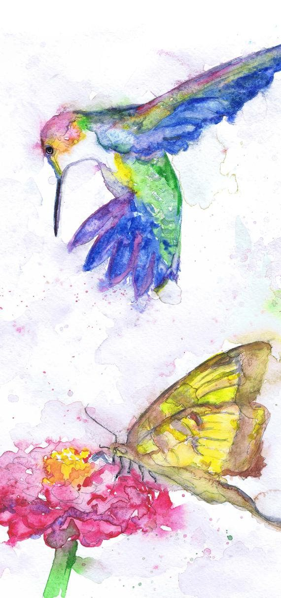 Hummingbird Art Watercolor Birds, Butterfly And Flower Humming bird Painting, Art Prints, Humming bird Picture Butterfly Wall art Gift   high quality fine art print of my original watercolor painting. It is the work of a watercolor series Portraits of the Heart   Size paper: 14,8 × 21cm,5 4/5 × 8 1/4, A5 (with white borders) - 9.00 $   21 cm x 29,7 cm, 8 1/4 x 11.5/8, A4.(with white borders) - 20.30 $  29,7cm × 42cm, 11,69 × 16,54, A3(with white borders) - 36.00 $  Other d...