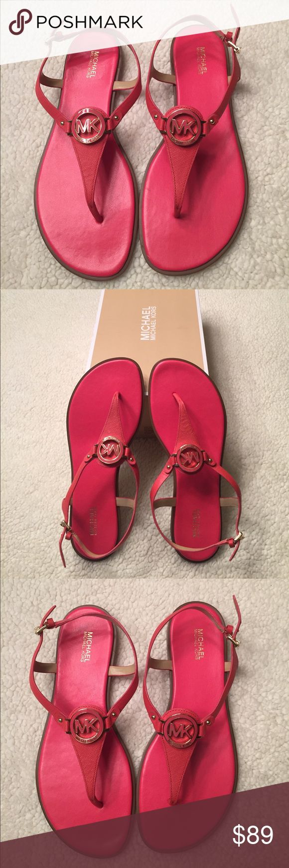 HUGE PRICE REDUCTION - TODAY ONLY!!! Brand new Micheal Kors leather Lee Thongs, watermelon.  New in box!!! Michael Kors Shoes Slippers