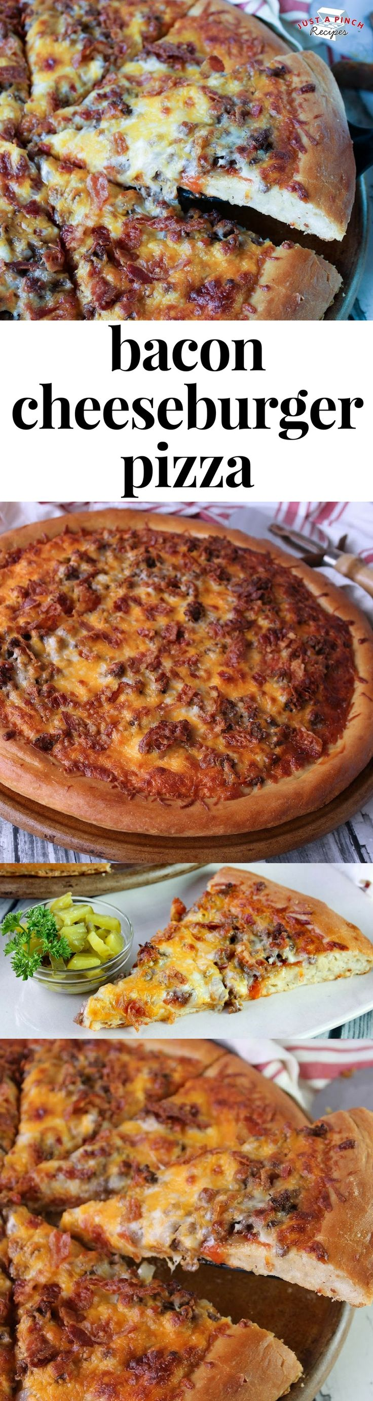 this bacon cheeseburger pizza is a great homemade pizza recipe that will be a delicious family dinner! #familydinner #pizza #pizzarecipe #dinnerrecipes #dinnertime
