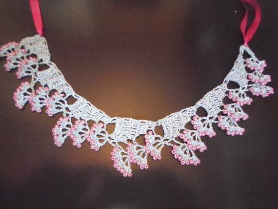 Crochet Flower Necklace With Beads by FineCrochetedJewelry on Etsy, $25.00