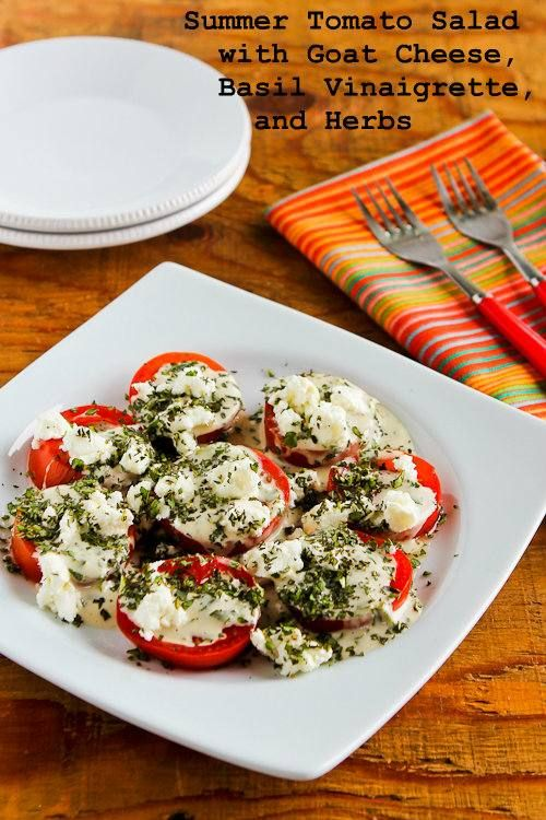 Summer Tomato Salad with Goat Cheese, Basil Vinaigrette, and Fresh Herbs #glutenfree #recipe