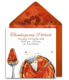 """We are loving this free """"Pumpkin Pie Potluck"""" invitation design. It's great for a Thanksgiving party. Easily personalize and send via email for a memorable gathering with family and friends!"""