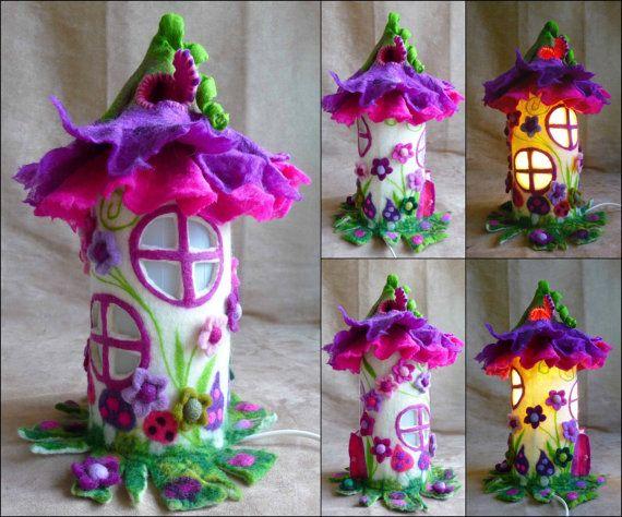 felted fairy lamp toadstool bedside lamp night von FeltedArtToWear