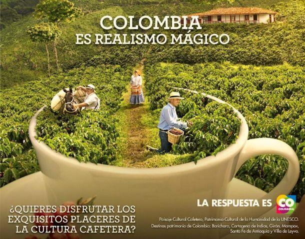 Está es una fotot que representa el realismo magico. La foto es forma de publicidad de la cultura Colombiana. El realismo magico es una técnica literaria que García Marquez introdujo a Colombia y al mundo.