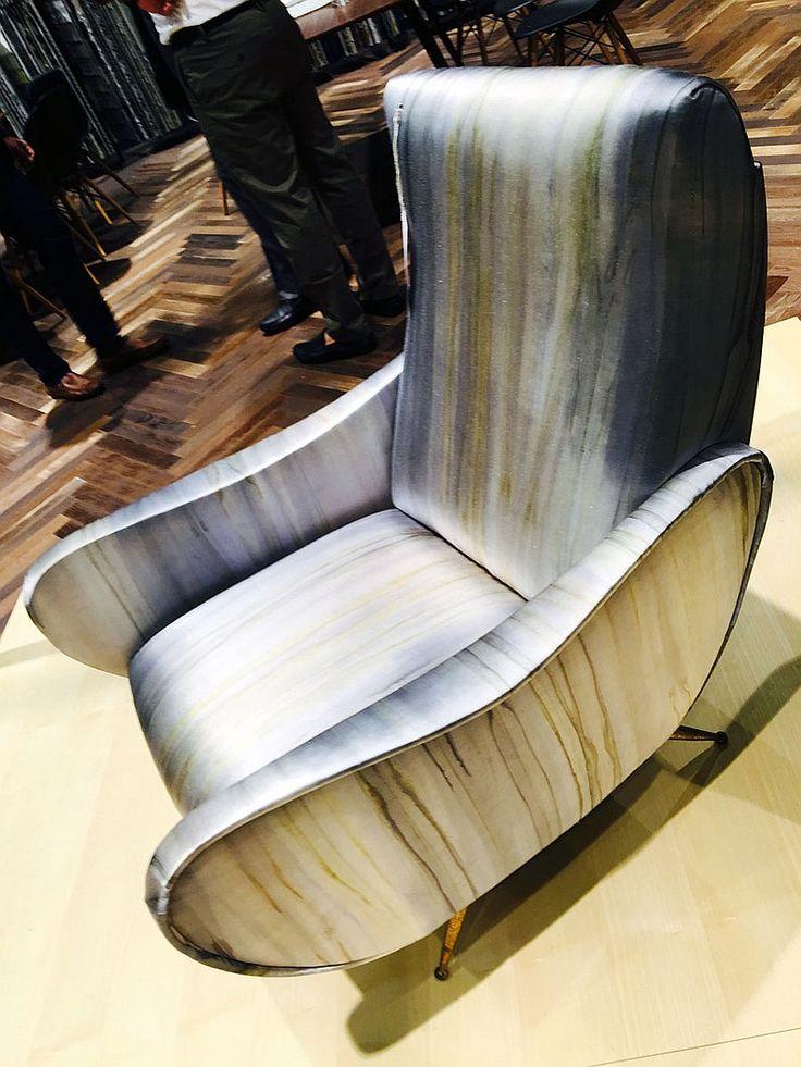 Beautiful midcentury Italian chair in digitally printed fabric. Wishlist for sure!
