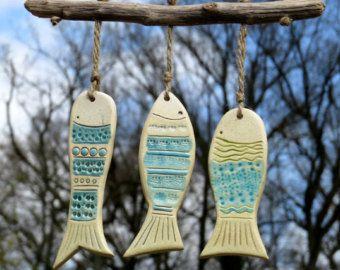 Keramik Garten Windspiel, Keramik Deko Fische mit Treibholz (1)