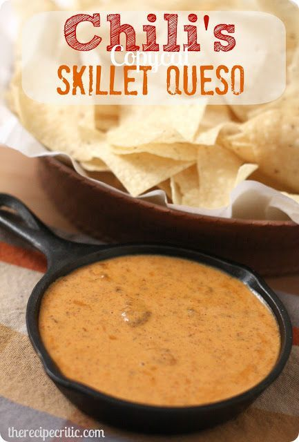 Chili's Skillet Queso : https://therecipecritic.com This tastes EXACT to Chili's queso!  You won't be able to get enough of it!!!