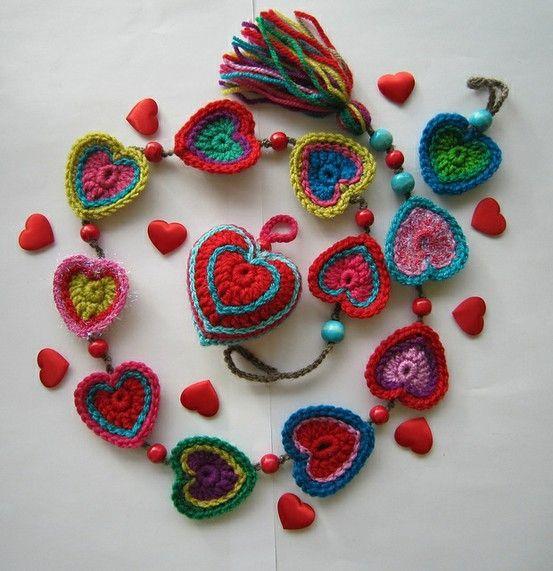 crocheted hearts wall hanger