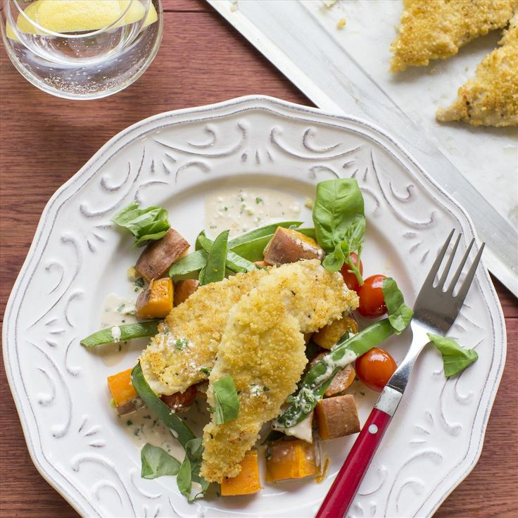 Couscous Crusted Fish with Roasted Vegetables and Orange-Basil Dressing