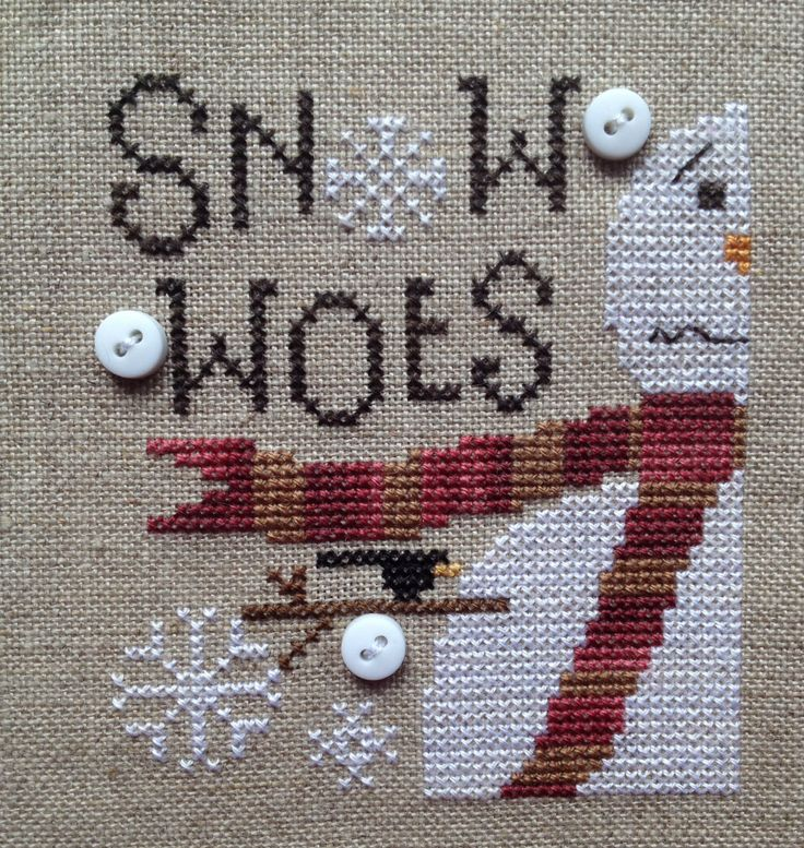 Snow Woes from Heart In Hand stitched on 40ct Raw Linen