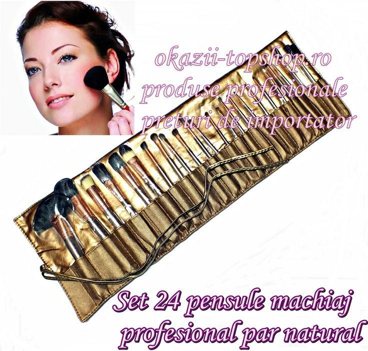 Set 24 pensule par natural pentru machiaj profesional Pret de importator numai pe www.e-top-online.ro