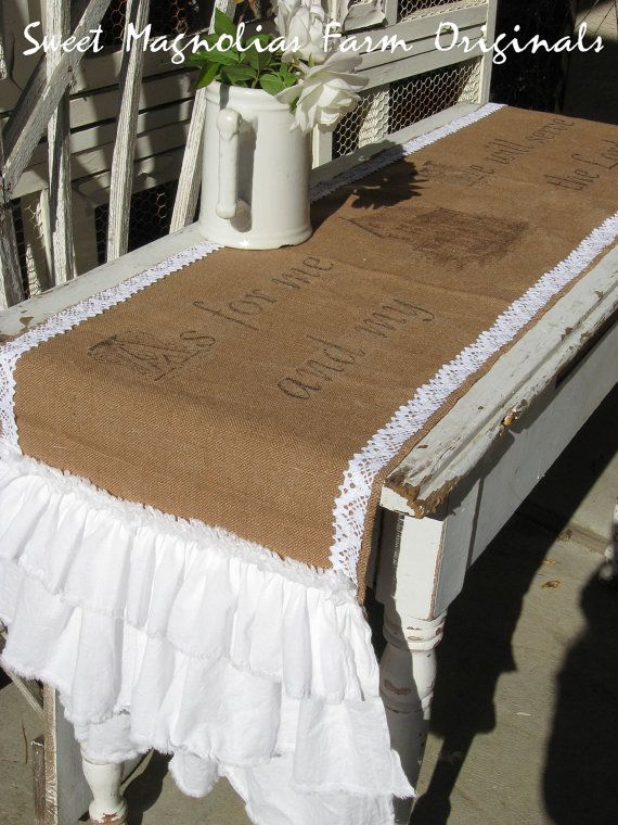 "Burlap Table Runner  ""As for me and My House We will serve the Lord"" by SweetMagnoliasFarm, $58.50"
