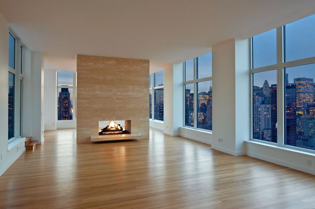 Penthouse Modern Double Sided Fireplace With Awesome City