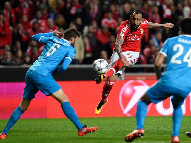 Feb. 16th. 2016: Benfica's Konstantinos Mitroglou shoots at goal in the Champions League tie with Malmo