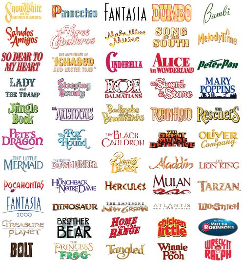 Disney title treatments in the order the movies were released