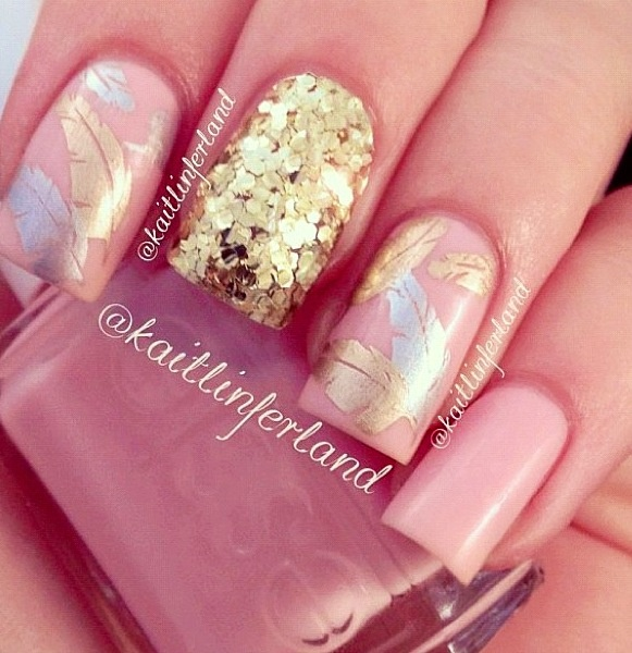 49 best nail fun teens20s images on pinterest teen french gold glitter feathers pink delicate nails i love it prinsesfo Choice Image