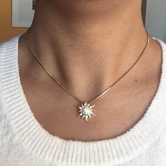 """Here Comes the Sun ☀️ Gorgeous Sun Necklace Here Comes the Sun ☀️ Gorgeous Gold Toned Sun Necklace Adorned with Tiny Rhinestones.  Length = 16"""". Costume Jewelry, ✨BRAND NEW✨Arrives Beautifully Wrapped.  Shows Beautifully in Person.  Sparkles Like the Sun.✨ Jewelry Necklaces"""