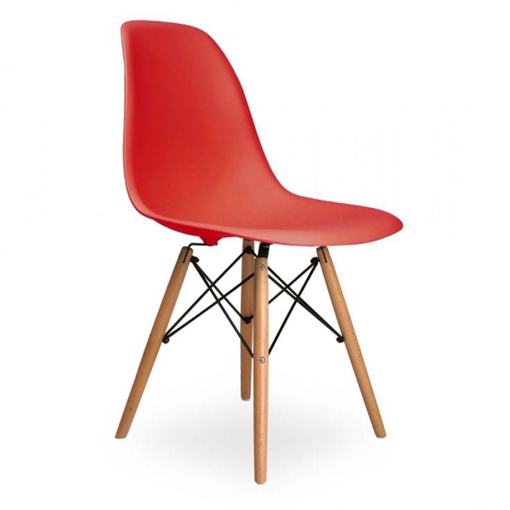 6 шт. для свободного покроя сторона обеденные стулья для гостиной п . п . пластиковые сиденья бука ног цвет красный