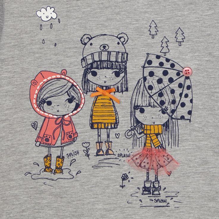 bluezoo Girl's grey graphic girls print top- at Debenhams.com