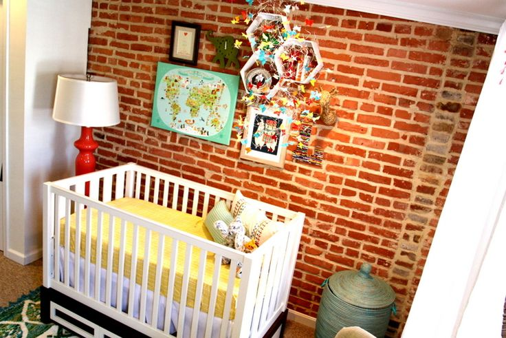 Exposed Brick Nursery Wall - what a fab look in this eclectic nursery!: Eclectic Nurseries, Nursery Bedrooms Ideas, Baby Fever, Brick Accent Wall, Brick Nurseries, Projects Nurseries, Gender Neutral Nurseries, Nurseries Ideas, Baby Rooms Decor
